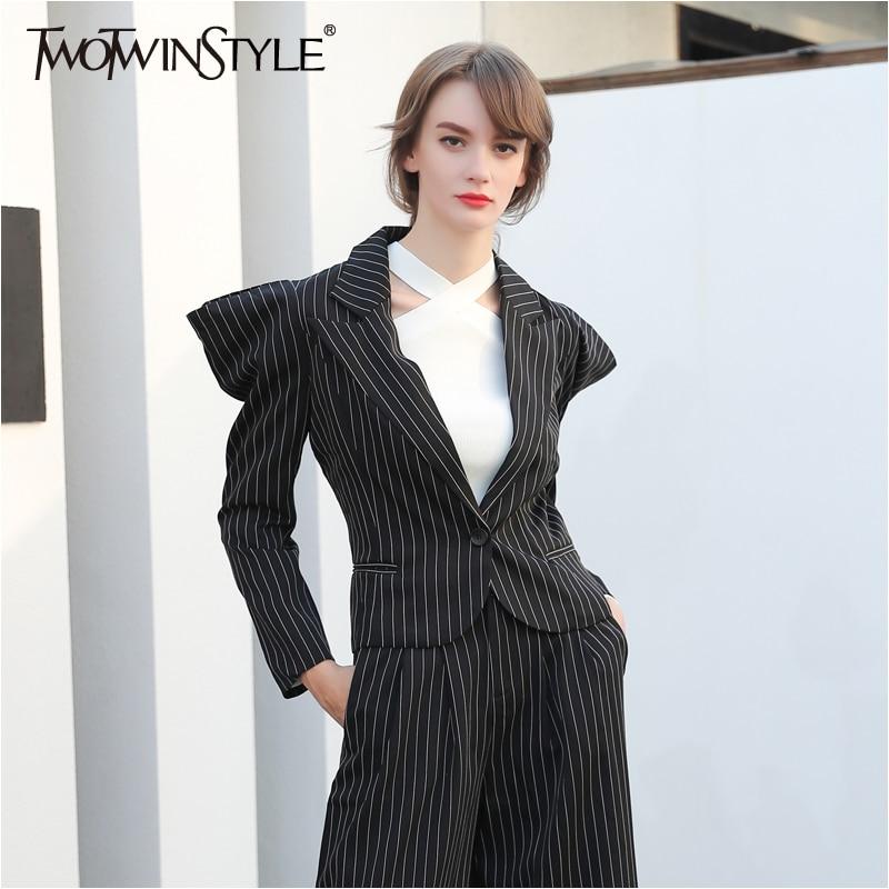 Twotwinstyle Black Striped Women 39 S Blazer Jacket Coat