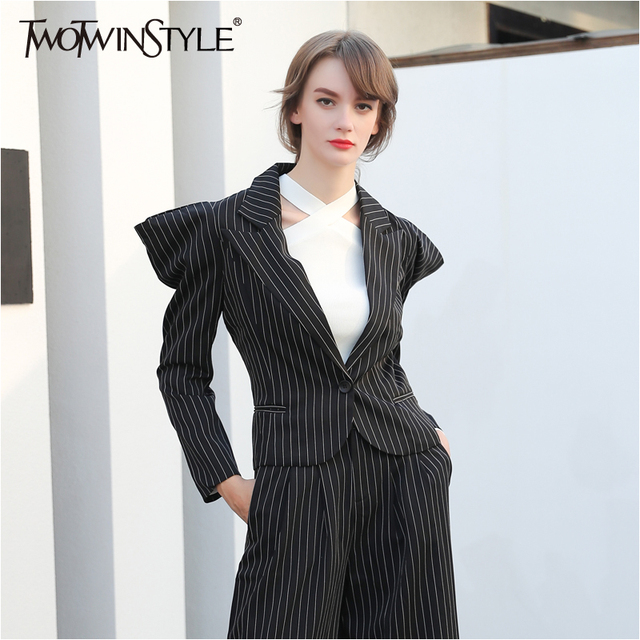 c33174b79a1 TWOTWINSTYLE Black Striped Women's Blazer Jacket Coat Female Long Sleeve  Broad Shoulders Tops Costumes Clothes Large Big Sizes