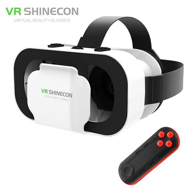 VR Shinecon 5.0 42mm Big Lenses 110FOV Mini Headset 3D Glasses Virtual Reality Cardboard Helmet vrbox Head Mount for4.7-6' Phone