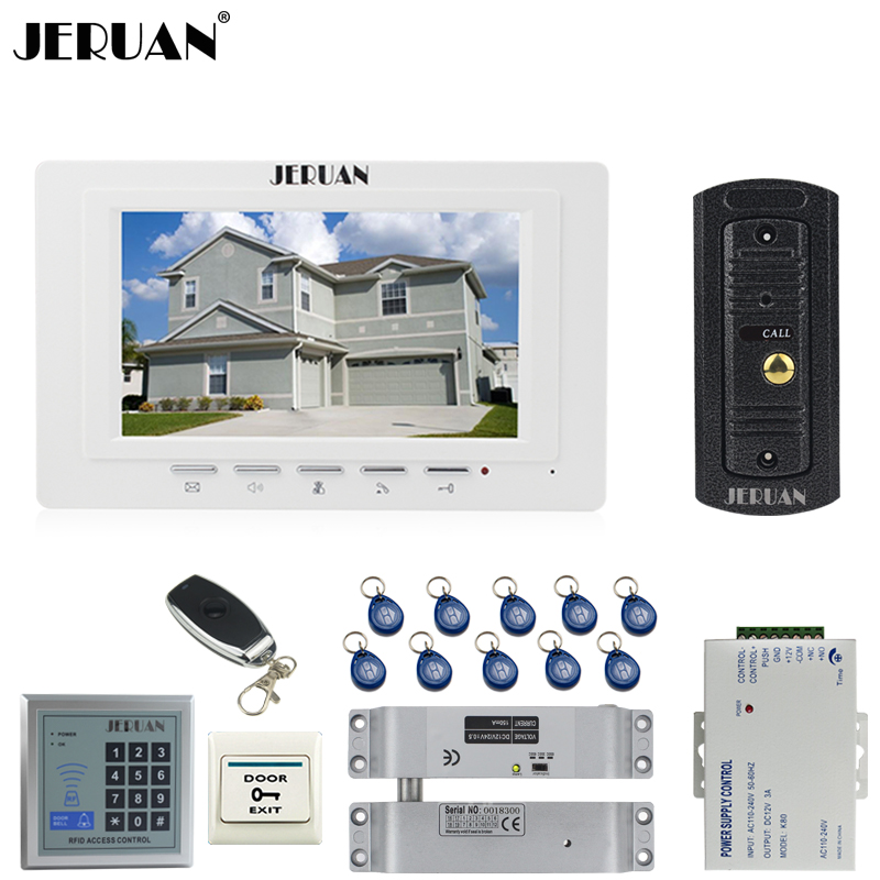 JERUAN 7`` LCD Video Door phone Intercom System kit 1 Monitor Metal 700TVL IR Pinhole Camera RFID Access Control Remote Control jeruan apartment 4 3 video door phone intercom system kit 2 monitor hd camera rfid entry access control 2 remote control