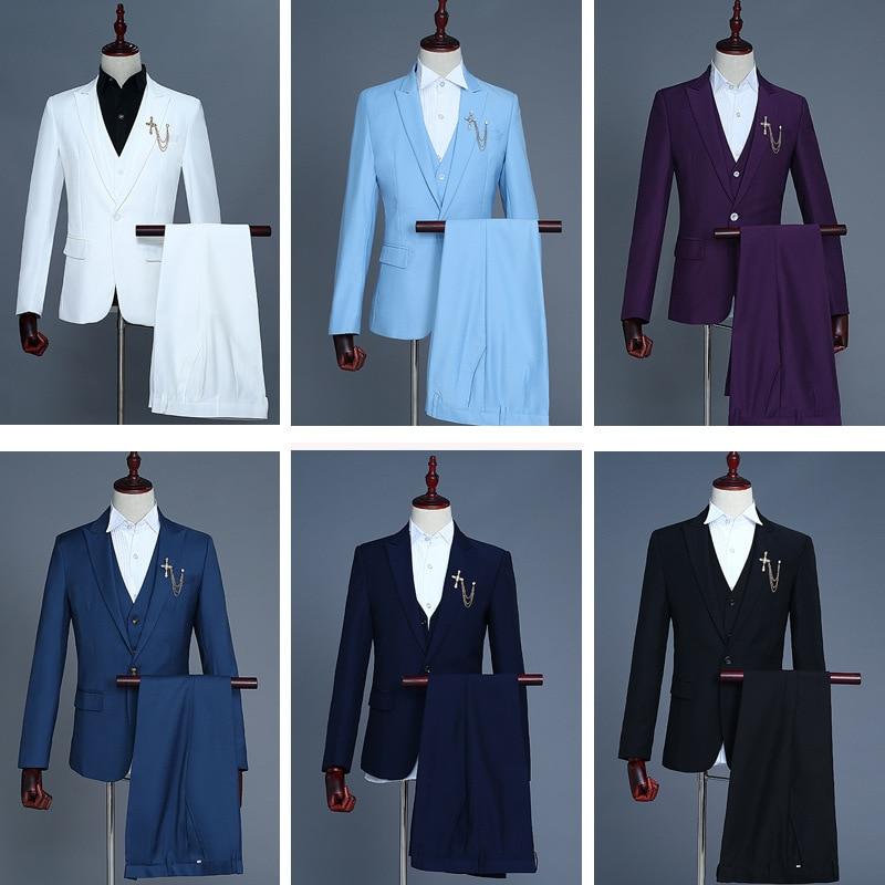 Groom's Dress Waistcoat Three-piece Set Coat Pants Blazer Men Suits 2019 Smart Casual White Red Pink Blue Black Suit For Men
