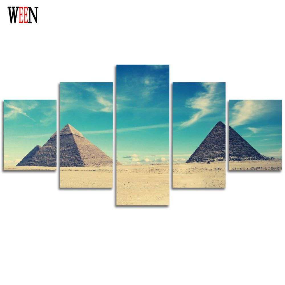 HD Printed Egyptian Picture With Framed Direatly Handed 5 Piece Canvas Art Wall Pictures For Living Room cuadros decoracion