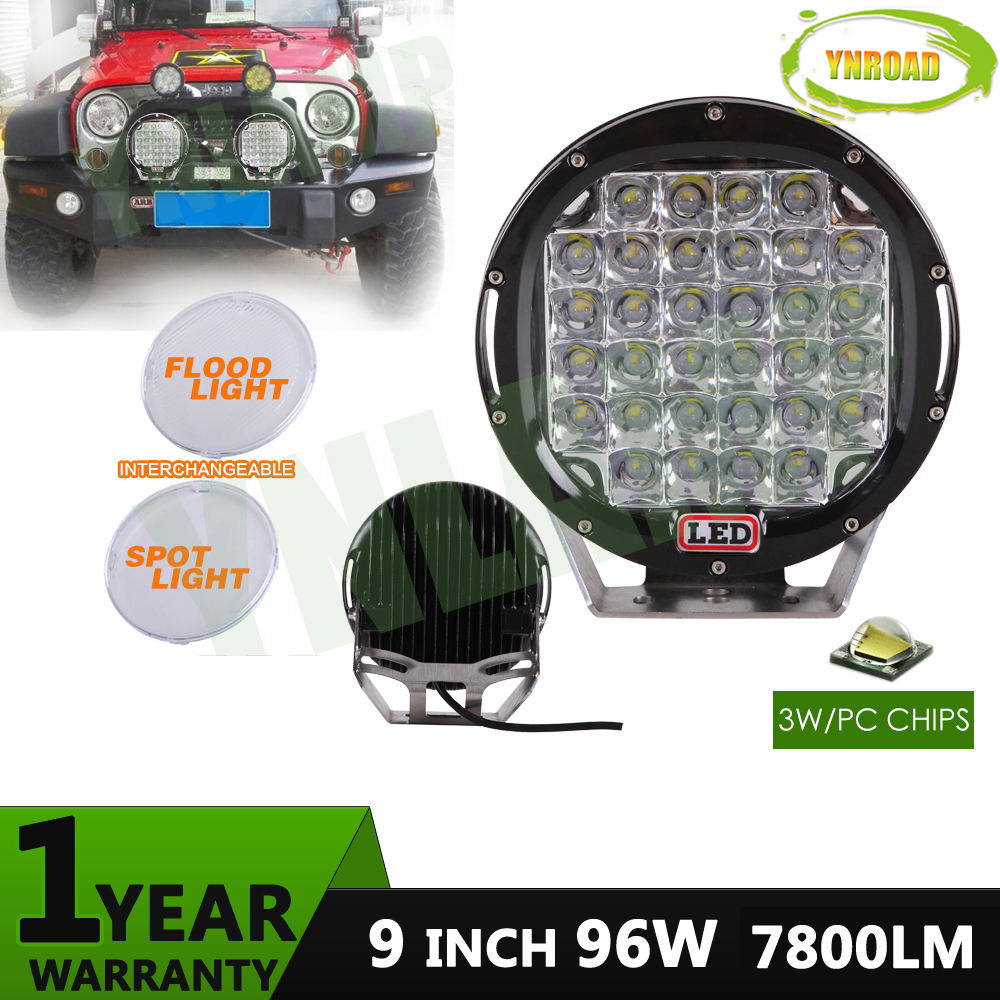 YNROAD 96w 9inch round offroad led light led driving light for SUV ATV 4WD truck use 7800LM four colours ...