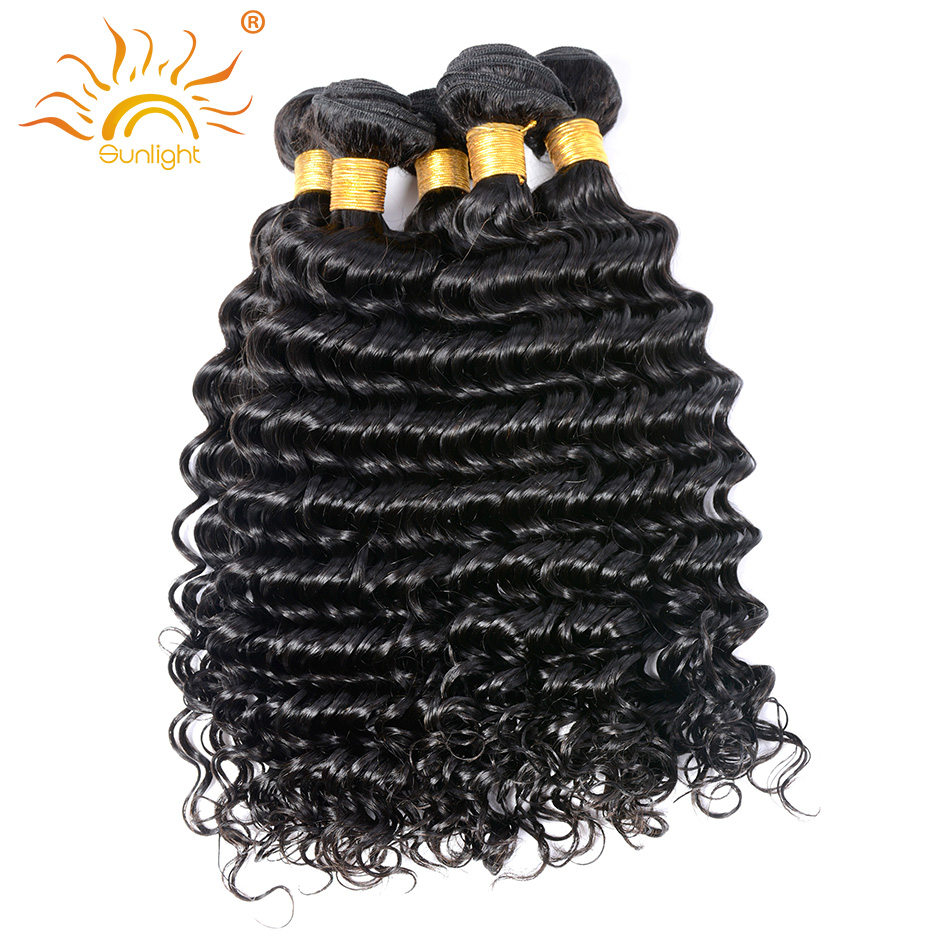 Sunlight human hair Brazilian Deep Wave Human Hair Weave Bundles Remy Hair Weaving 10-28 inch Natural Color Free Shipping 1 pc