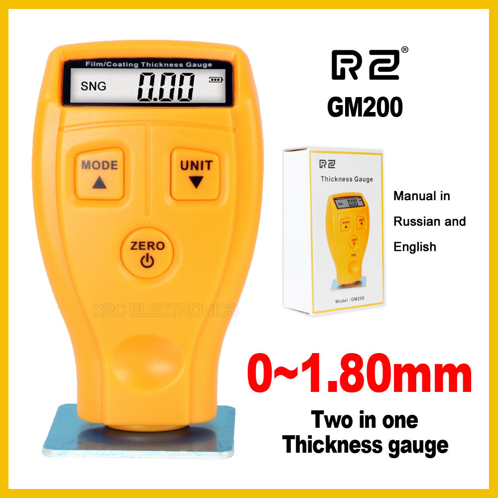 RZ Digital Automotive Car Paint Thickness Gauge of and Varnish Film Coating for Cars Meter GM200 1.8mm 71mil Fe NFe 2 in 1