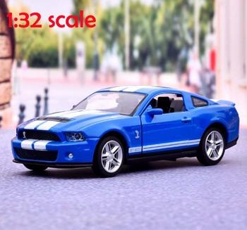 Realistyczne 1 32 Ford Shelby GT500 Diecasts i pojazdy zabawkowe Model samochodu z dźwiękiem i światłem kolekcja samochody zabawkowe dla chłopca dzieci prezent tanie i dobre opinie Metal 3 lat Inne Certyfikat ch69 Samochód 15x6x4 5cm