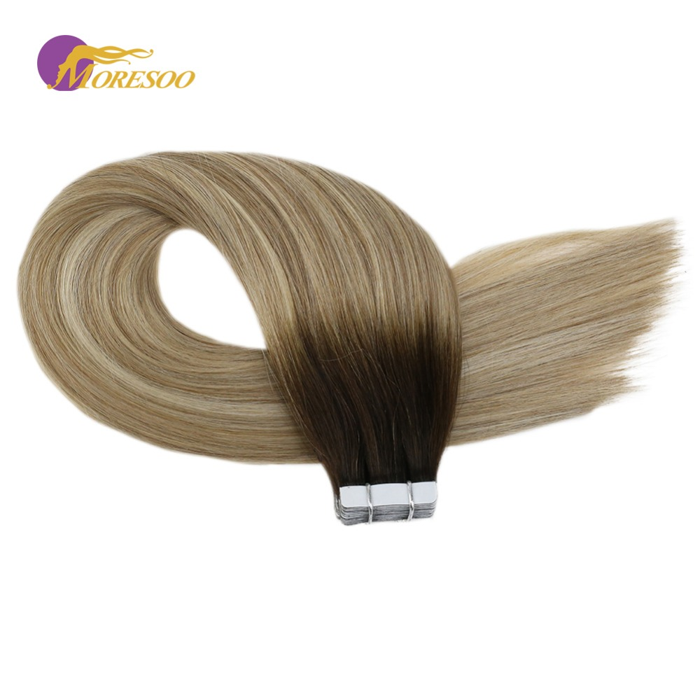 Moresoo Remy Tape In Hair Extensions Human Hair  #3/12/613 Brown And Blonde Skin Weft Natural Brazilian Hair 2.5g/Pcs 14-24 Inch