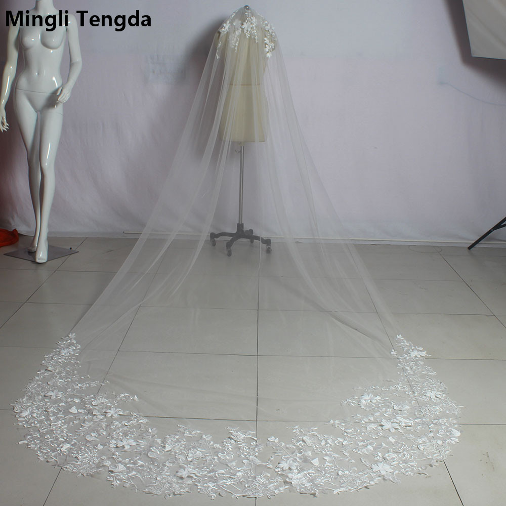 Elegant Women Wedding Veil 3 M Long Applique Edged Bridal Veils with Comb One Layer Velos De Novia Wedding Accessories Voile