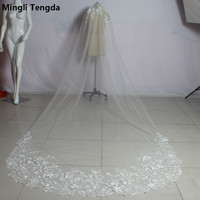 Elegant Women Wedding Veil 3 M Long Applique Edged Bridal Veils with Comb One Layer Velos De Novia Wedding Accessories Voile