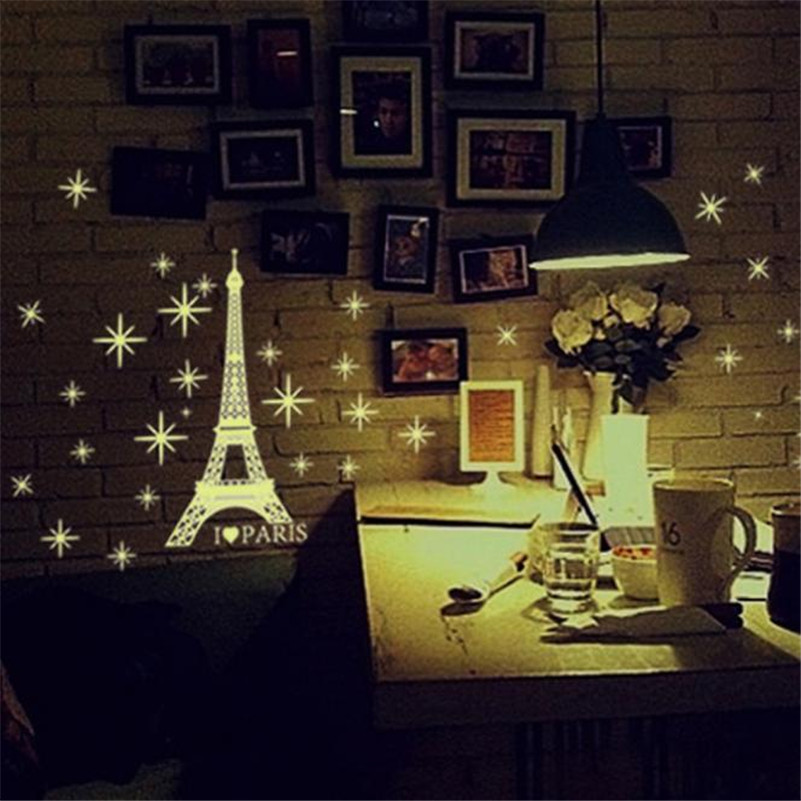 D10 A Set Kids Bedroom Fluorescent Glow Eiffel Tower In The Dark Stars Wall Stickers Doors