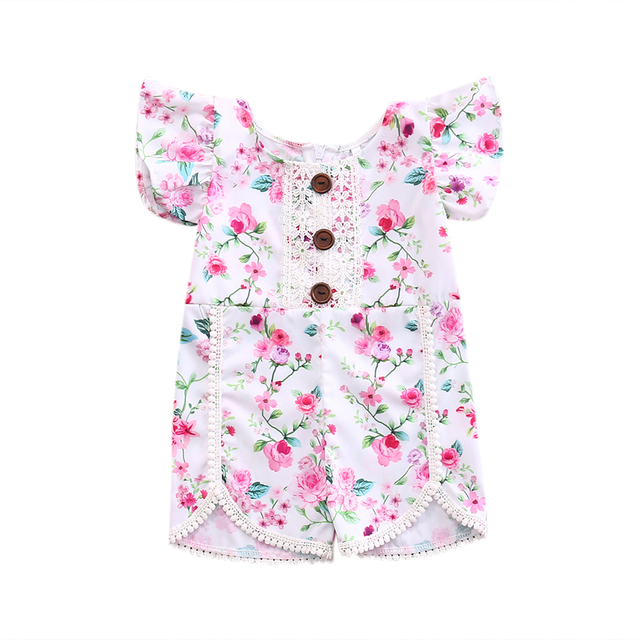 550a5582c18b Newborn Baby Girl Floral Romper Lace Splice Bottom Decor Romper Summer  Princess Toddler Kids Jumpsuit Outfit Sunsuit Clothes