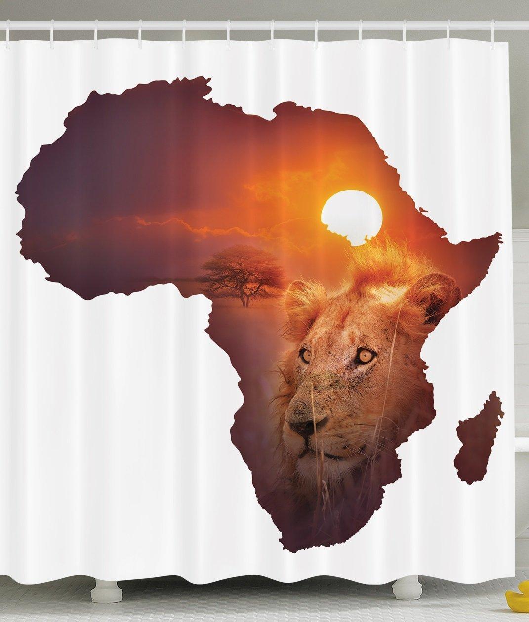 Safari Decor African Art Wildlife Shower Curtain Continent Lion Sunset Digital Print High