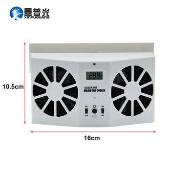 Xinpuguang 태양 전지 패널 미니 팬 자동차 배기 환기 더블 팬 냉각 휴대용 빛 태양 전지 및 배터리 전원 쉬운 첨부