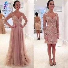 Neue Ankunft Langarm Kristall Prom Kleid mit Tüll Abnehmbare Zug Neuesten Spitze V-ausschnitt Flügelärmeln Abendkleider