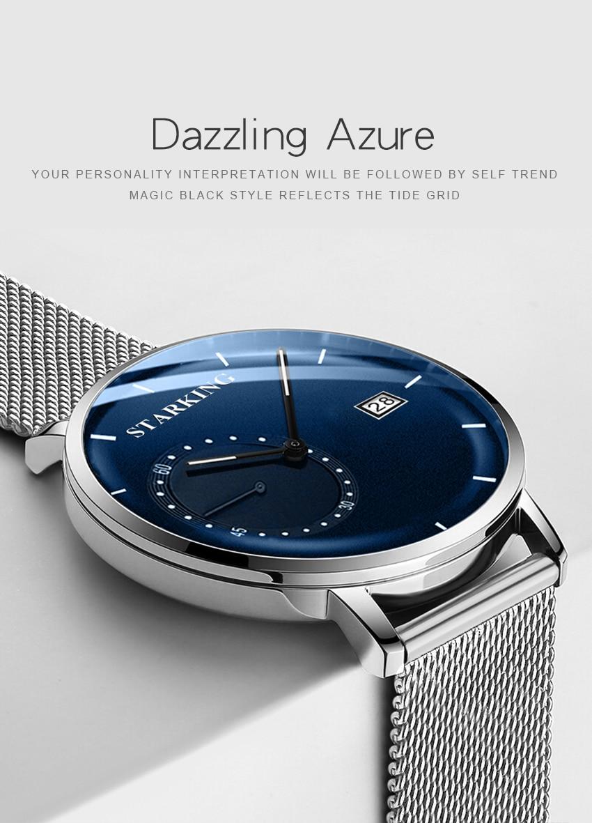 HTB1fV .d79E3KVjSZFGq6A19XXaG STARKING Dress Men Watch Steel Mesh Band Quartz Analog Wristwatch 3ATM Waterproof Curved Glass Blue Male Clock Relogio Masculino