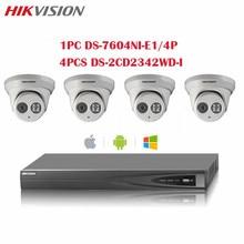 CCTV Surveillance System HD HDMI 4CH NVR ONVIF DS-7604NI-E1/4P With 4MP DS-2CD2342WD-I IP POE Camera Home Security Kit