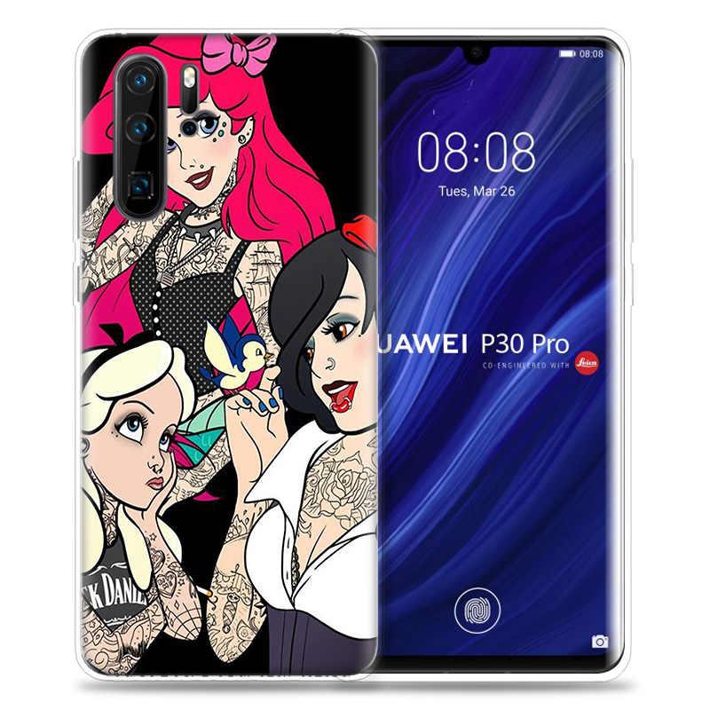 入れ墨プリンセスアリエルケース huawei 社 P20 P30 P40 lite e 1080p スマート z プラス 2019 メイト 30 10 20 プロシリコーン電話バッグキャパ