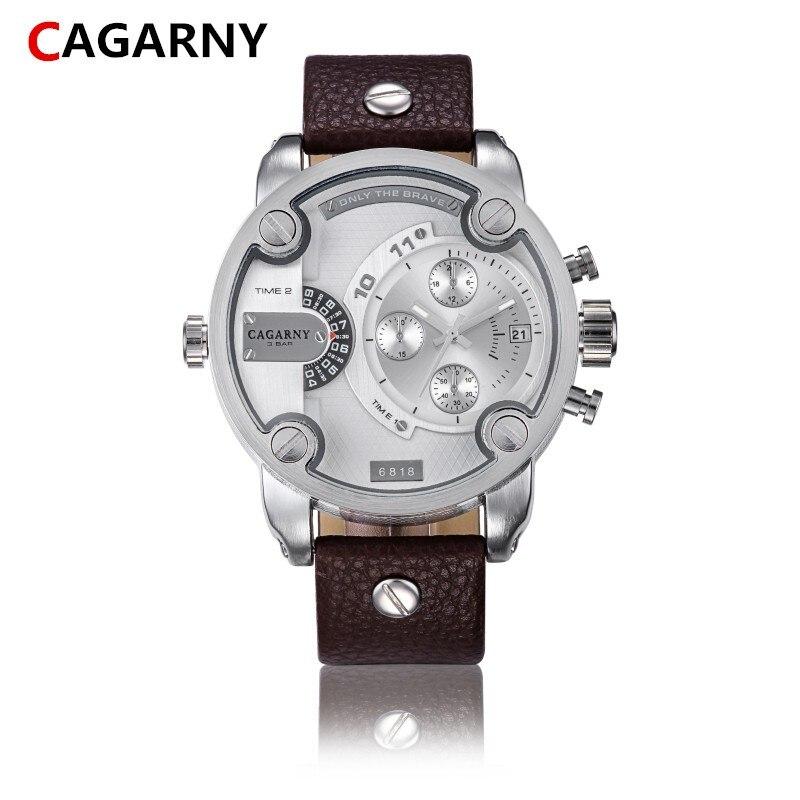 Relogio masculino nouvelle mode hommes montre sport et loisirs marques  CAGARNY Fuseaux horaires En Cuir Bande Montre de Sport af0cabf6813