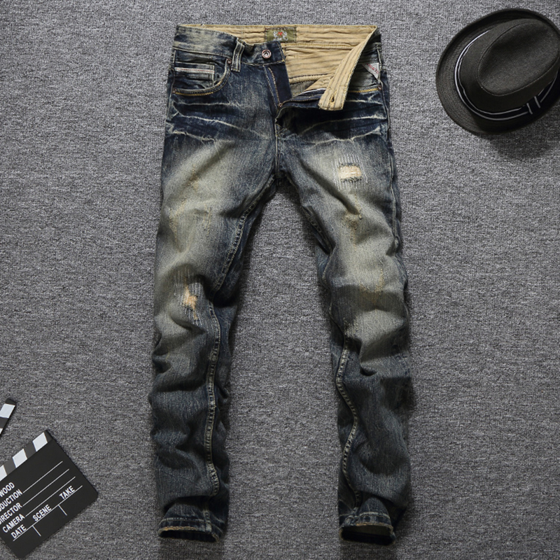 High Quality Cotton Brand Clothing Men`s Dark Jeans Pants Casual Distressed Slim Fit Denim Patchwork Jeans Men RL631