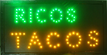Led- 2017 hot sale 10X19 inch indoor Ultra Bright ricos tacos/delicious tacos store Neon light sign