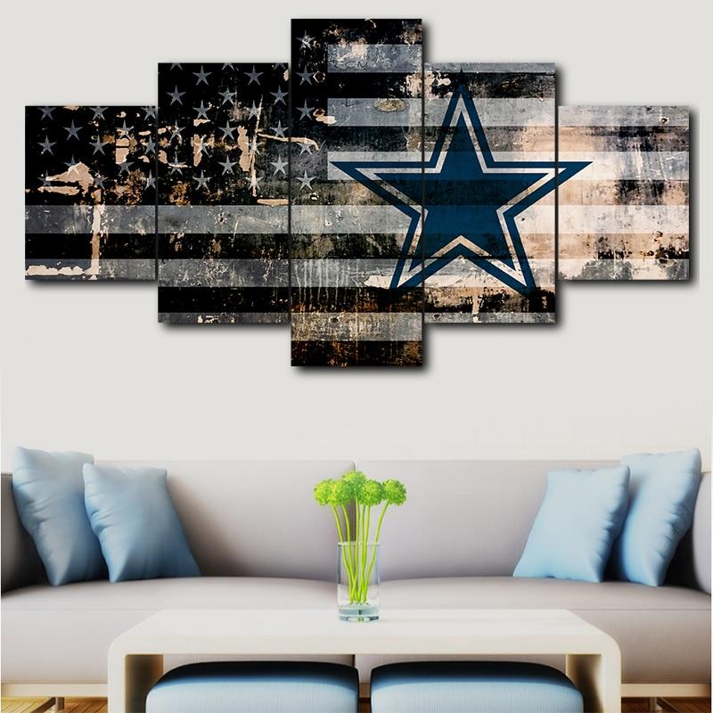 5 Panel Dallas Cowboys Canvas Prints Painting Wall Art Nfl: 5 Pieces Of Canvas Art Dallas Cowboys Sport Logo