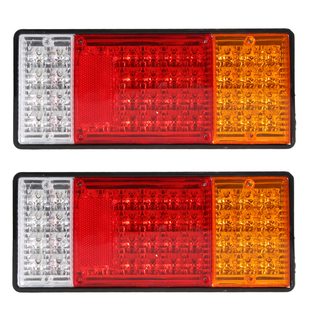 2Pcs Car Rear Lamp Truck Boat Trailer Plastic Taillight Stop/Tail/Turn Signal Light 44 LED DC 12V Car-styling Waterproof 2pcs 20 led car truck red amber white led trailer waterproof tail lights turn signal brake light stop rear lamp dc 12v cy798 cn