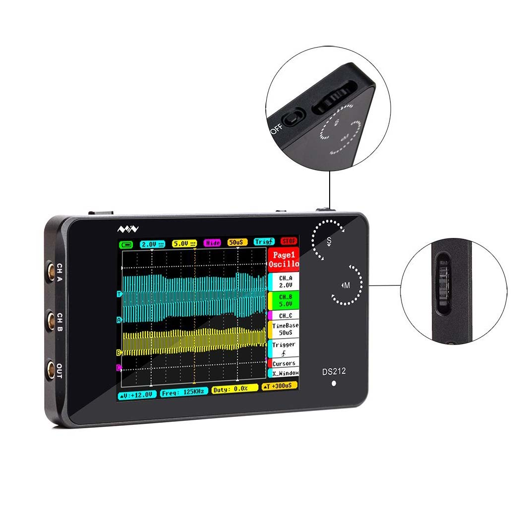 O110 Mini ARM DSO212 DS212 Digital Storage Oscilloscope Portable Nano Handheld Bandwidth 1MHz sampling rate 10MSa/s Thumb Wheel цена