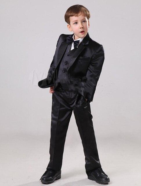 2017 Hot Little Boy Suits For Wedding Black Handsome Children Suit Child Marriage