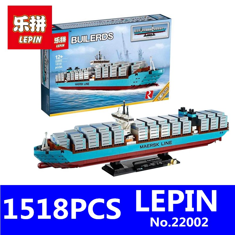Genuine Technic Series LEPIN 22002 1518Pcs The Maersk Cargo Container Ship Set Building Blocks Bricks Educational Children Toys lepin 22002 1518pcs the maersk cargo container ship set educational building blocks bricks model toys compatible legoed 10241