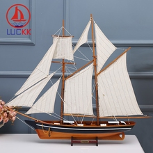 LUCKK 100CM American Wooded Model Ships Home Interior Vintage Burlywood Decoration Wood For Crafts Sea Style Assembling Kid Gift american interior