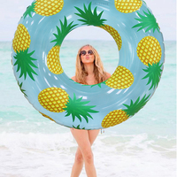 105cm Giant Inflatable Pineapple Print Swimming Ring Pool Float Swimming Circle Adult Beach Summer Water Mattress Inflatable Toy