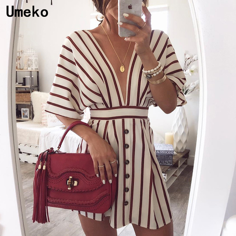 New Fashion 2019 Women Party Dress Night Club Deep V Neck Striped Batwing Sleeve Laides Casual Loose Mini Shirt Dresses