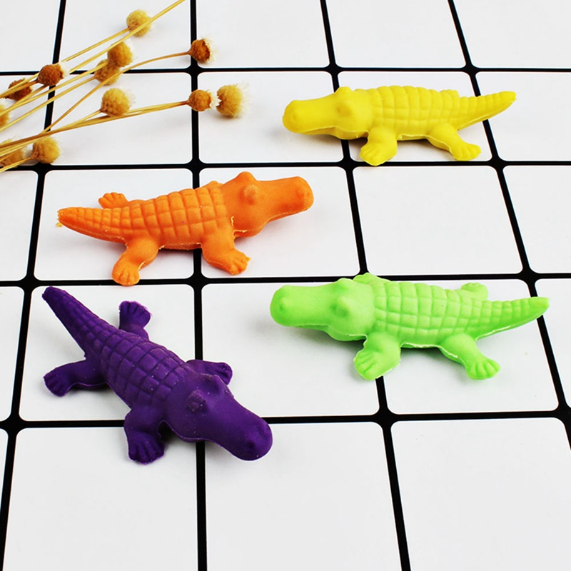 Eraser Correction Supplies 4 Pcs/lot Creative Crocodile Dinosaur Shape Eraser Stationery Office School Correction Supplies Papelaria Childs Toy Gift Clients First
