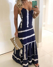 2019 Sexy Women Spaghetti Strap V-Neck Sleeveless Dress Elegant Print Loose Hem Party Maxi Dress random stars print dip hem cocoon dress