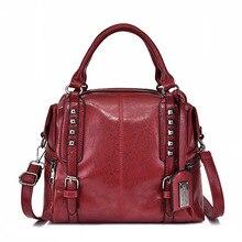 цена на Retro Big Bag Female 2019 New Luxury Design Shoulder Bags Fashion Rivet Women Handbag Large Capacity Ladies Tote Bag Black Red