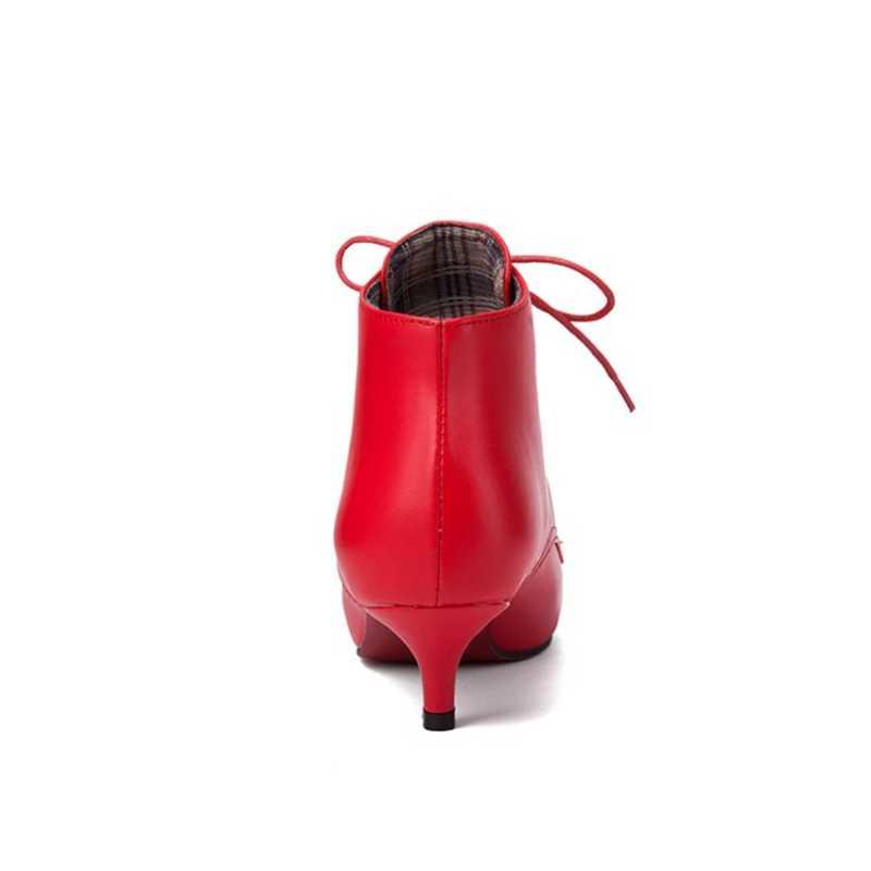 BLXQPYT Büyük boy Bahar Sonbahar Stiletto Ince düşük Topuklu Sivri Burun Deri Dantel-up Stil Seksi Ayak Bileği Kadın Botları ayakkabı kadın 56-6