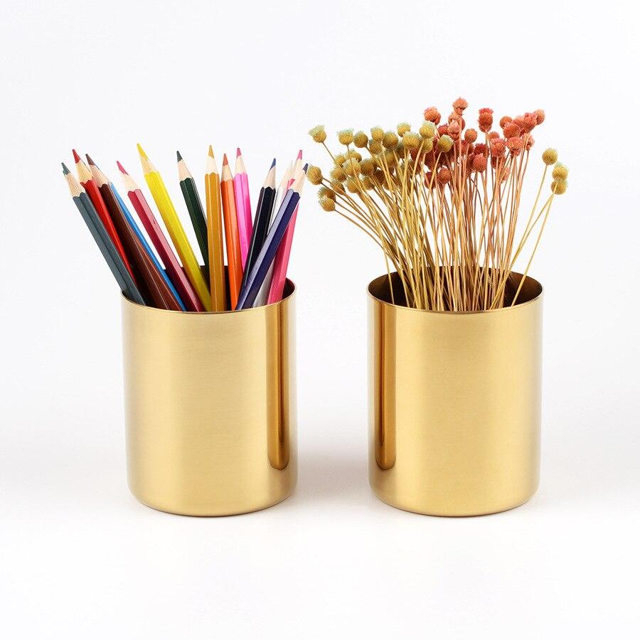 Dokibook Brass metal Round pen holder Golden penholder ins style office desk accessories pen escritorio 2018 school stationery цены