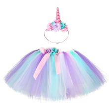 Pastel Girls Tutu Skirt Fluffy Pony Unicorn for Teenager Knee Length Flower Tulle Birthday Party Clothing