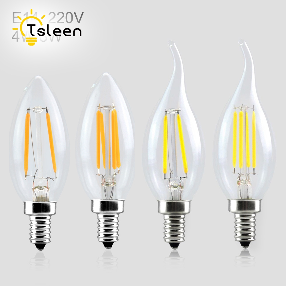 tsleen 10pcs retro led light e14 ac 220v filament bulb edison lamp clear led bulb led ampoule. Black Bedroom Furniture Sets. Home Design Ideas