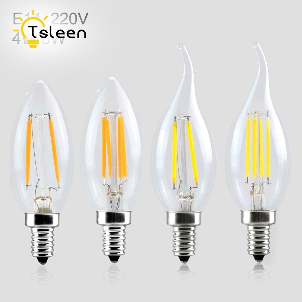 TSLEEN 10PCS Retro Led Light E14 AC 220V Filament bulb Edison lamp Clear LED bulb LED Ampoule LED light bulbs E14 4w 8w Sale
