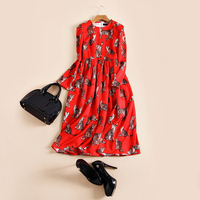 2016 Pre Fall High Quality Red Color Cat Printing Full Sleeve Dress Woman Long Dress S