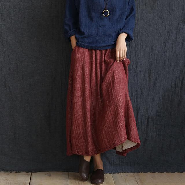 Sólido Rojo Verde Azul de Lino cintura Elástica Falda de Las Mujeres de Primavera otoño Marca Diseño Falda Larga Maxi de La Vendimia de La Falda Faldas Jupe 5038