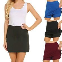 купить Women High Waist Active Athletic Skort Side Slit Solid Color Running Tennis Golf Sports A-Line Mini Skirt With Underneath Shorts дешево