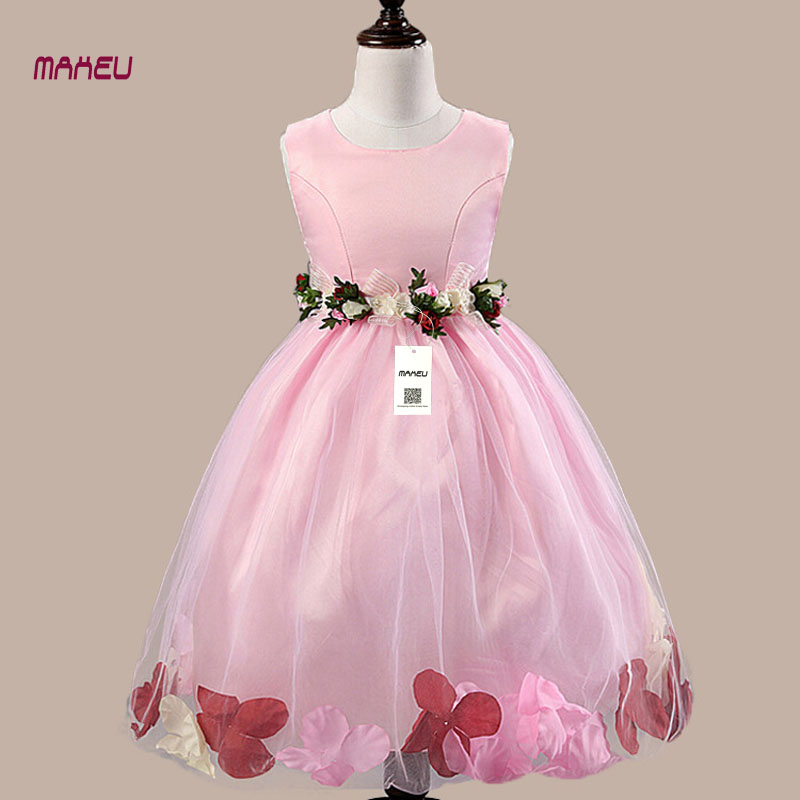 Dress for Girl Summer Children Clothes Sleeveless Flower Princess Girl Dress Wedding Party Teenager Girls Costume Dress 2-13Y gril flower dress multi storey white clothes stage girl performance children show clothes for dance with a pair of glove