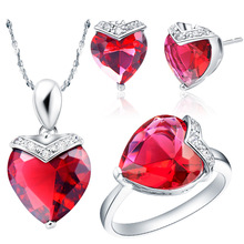 NEW set of 925 sterling silver Austria crystal sea heart necklace ring