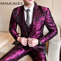 Mens Suit Vest With Pants 3 Pieces Terno Masculino Slim Fit Purple Flower Plus Size 5XL Wedding Suits for Men 2018 Mauchley
