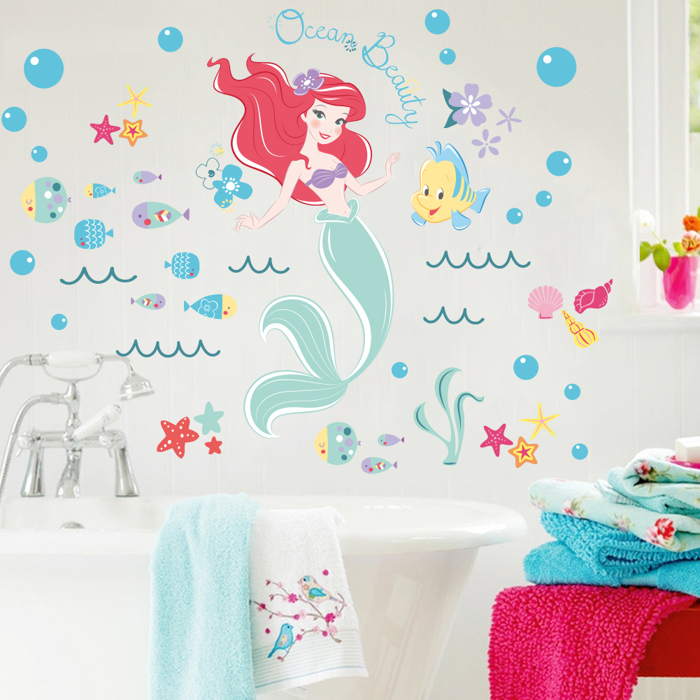popular mermaid decal buy cheap mermaid decal lots from china the little mermaid underwater fish wall stickers for kids rooms home decoration diy 3d window sticker