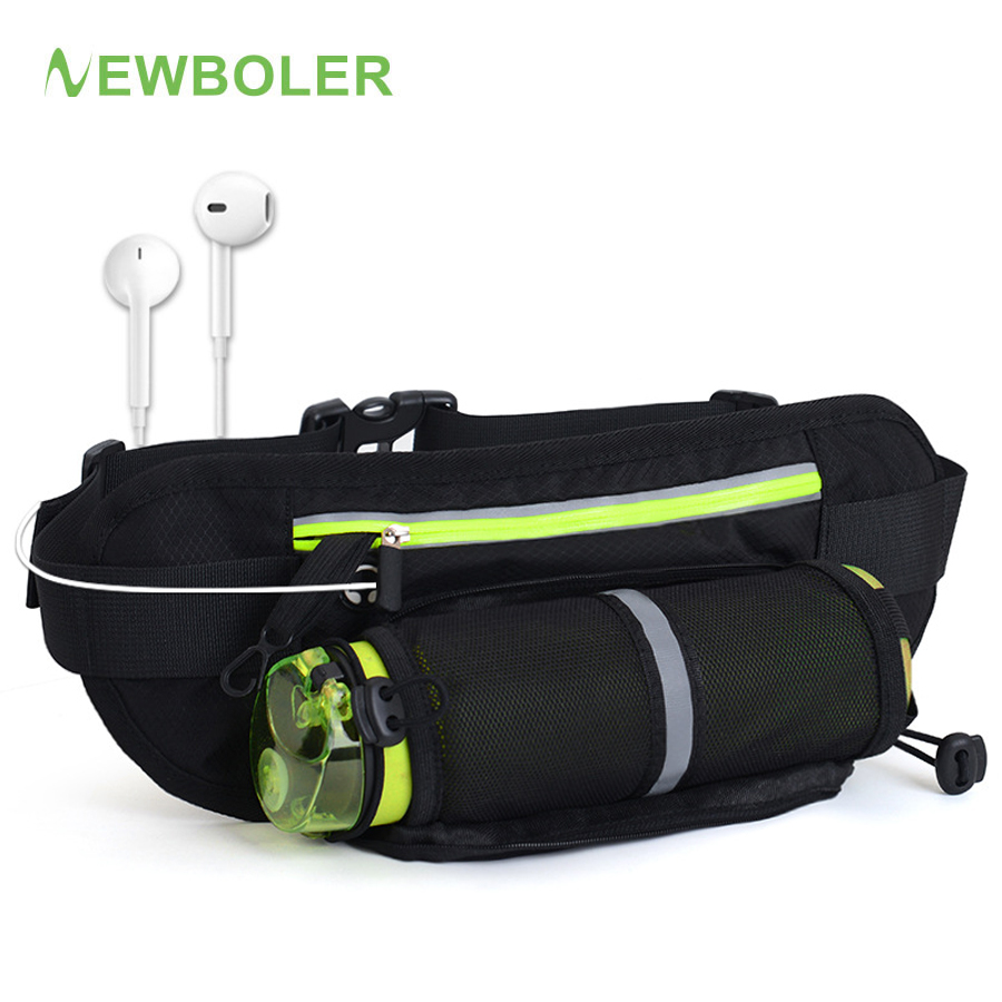 NEWBOLER Running Waist Belt Bag Marathon With Water Bottle For 4.8-6.6 Inch Phone Sports Trail Running Bag Men Women Fanny Pack