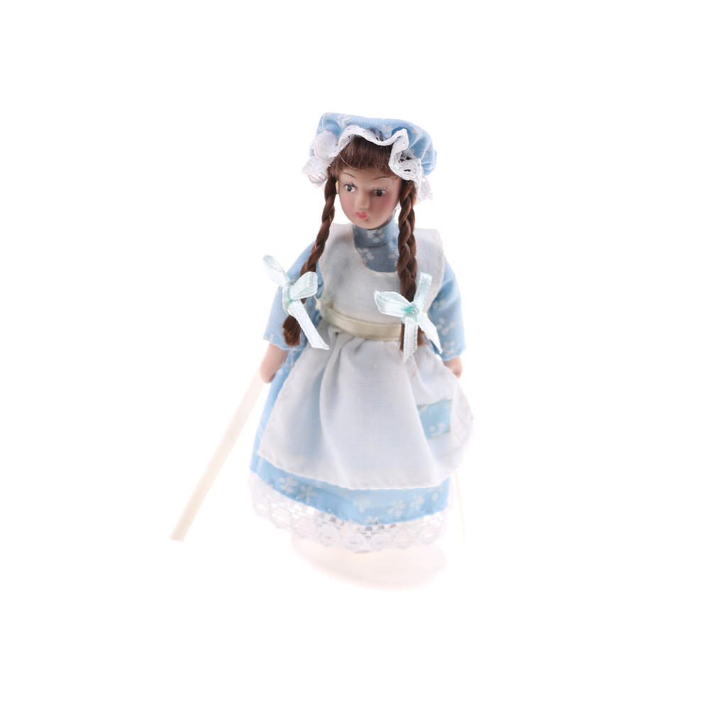 Cartoon Porcelain Doll Model Dress in Clothes Toy 1:12 ...