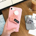 Corea del precioso gorro de lana para iphone7 más protección cáscara del teléfono de apple iphone6/6 s paño de felpa marea modelos femeninos